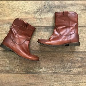 Frye Paige Short Riding Boot Brown Leather Ankle